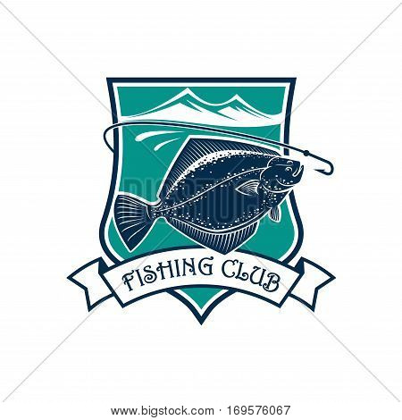 Fishing icon of flounder fish, fish-rod with bait, float and catch on hook. Fishery industry and fisher or fisherman trip or club vector isolated emblem, badge or sign with ribbon, sea or lake and mountains