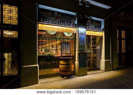 Barcelona Spain - January 05 2017: Exterior of the Pirineu en Boca Born restaurant located in a El Born quarter of Barcelona