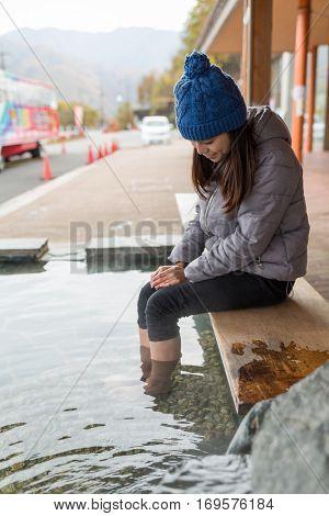 Woman having foot bathing