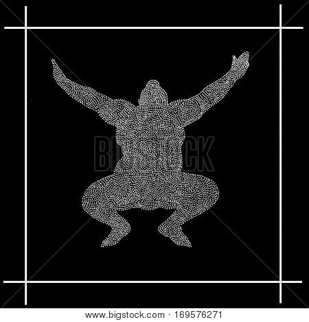 Graphic image of a sumo wrestler as dot drawing