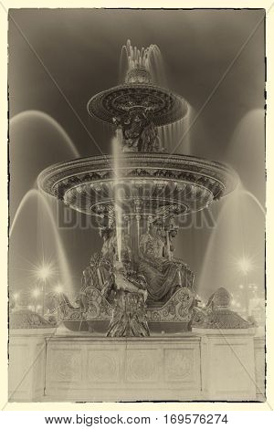 A post card from Paris - Fountain at Place de la Concorde in Paris France - Intentional noise