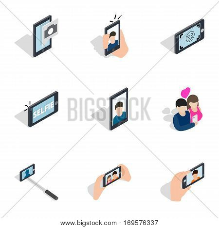 Taking photo icons set. Isometric 3d illustration of 9 taking photo vector icons for web