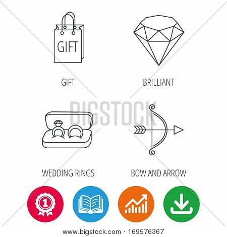 Brilliant, gift and wedding rings icons. Bow and arrow linear signs. Award medal, growth chart and opened book web icons. Download arrow. Vector