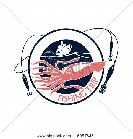 Seafood fishing trip emblem or vector icon with squid. Round emblem for fishery industry or fisherman adventure club with symbol of cuttlefish, fishing rod with hook and float, boat or ship and blue waves