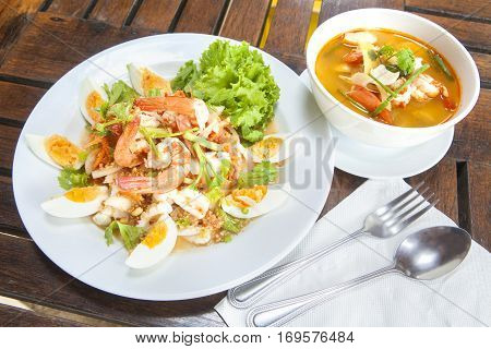 spicy seafood Thai-style salad with Tom Yum Goong