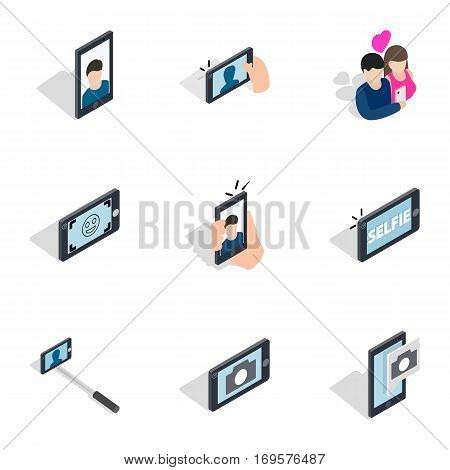 Selfie with mobile phone icons set. Isometric 3d illustration of 9 selfie with mobile phone vector icons for web