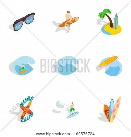 Summer boarding on waves icons set. Isometric 3d illustration of 9 summer boarding on waves vector icons for web