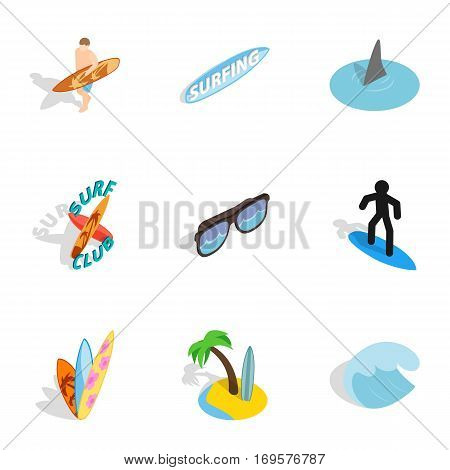 Surf elements icons set. Isometric 3d illustration of 9 surf elements vector icons for web
