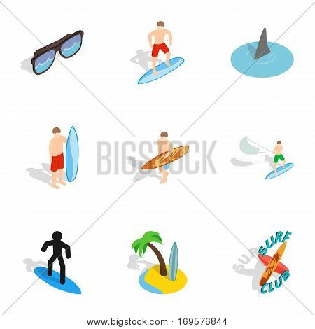 Surfing icons set. Isometric 3d illustration of 9 surfing vector icons for web