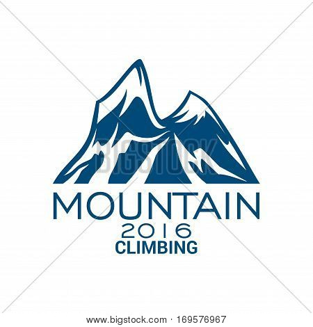 Climbing sport or mountain alpine icon or vector emblem with Alp rocks and snowy peaks. Isolated badge for climb extreme adventure, mountaineering winter nature trip or tourist camping expedition, skiing or snowboarding