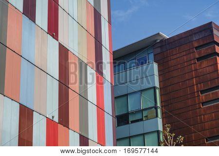 MILAN, ITALY - OCTOBER 22, 2016: Milan (Lombardy Italy): modern colorful office buildings along via Roberto Bracco