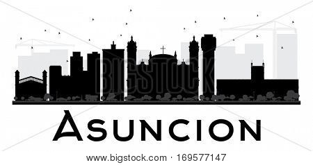 Asuncion City skyline black and white silhouette. Simple flat concept for tourism presentation, banner, placard or web site. Business travel concept. Cityscape with landmarks.