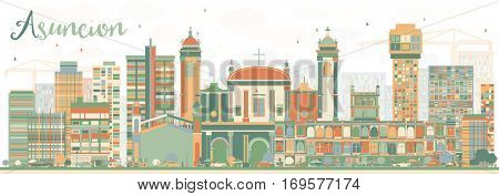 Abstract Asuncion Skyline with Color Buildings. Business Travel and Tourism Concept with Modern Architecture. Image for Presentation Banner Placard and Web Site.