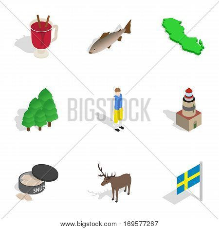 Travel to Sweden icons set. Isometric 3d illustration of 9 travel to Sweden vector icons for web
