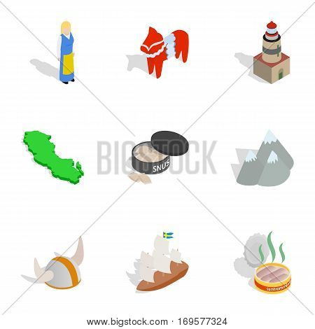 Swedish cultural elements icons set. Isometric 3d illustration of 9 vector icons for web