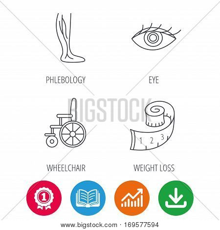 Vein varicose, wheelchair and weight loss icons. Eye linear sign. Award medal, growth chart and opened book web icons. Download arrow. Vector