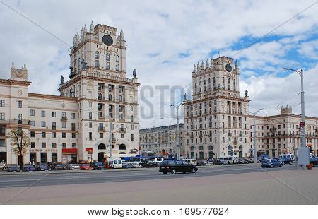 Two towers on the city gate Railway Square April 26 2005 in Belarus; editorial