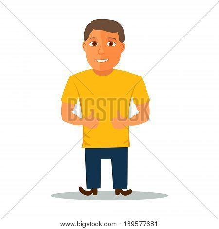Cartoon Character in Yellow t-shirt. Vector illustration