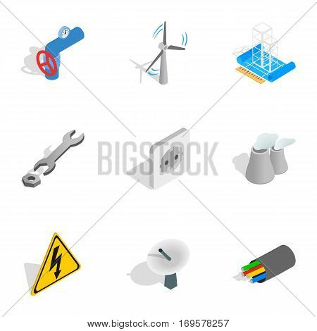 Energetics icons set. Isometric 3d illustration of 9 energetics vector icons for web