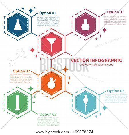Vector infographic template with laboratory glassware icons. Concept with chemical theme on the white background.