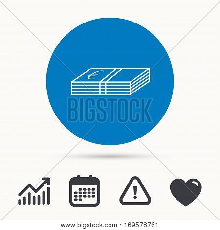 Cash icon. Euro money sign. EUR currency symbol. Calendar, attention sign and growth chart. Button with web icon. Vector