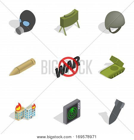 Weapons icons set. Isometric 3d illustration of 9 weapon vector icons for web