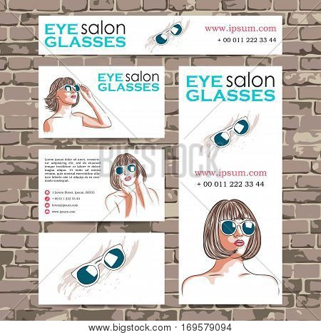 vector eyeglasses salon card with woman wearing sunglasses. EPS