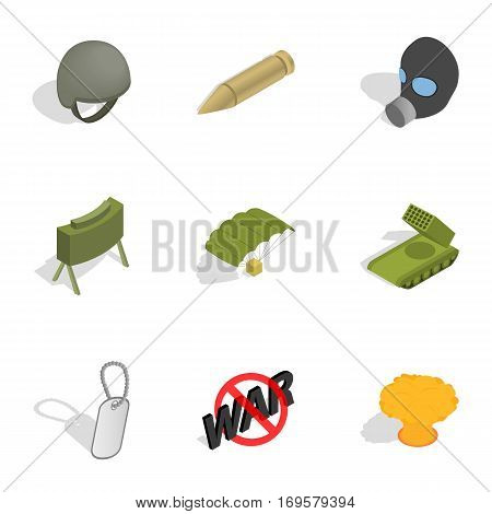 Army icons set. Isometric 3d illustration of 9 army vector icons for web