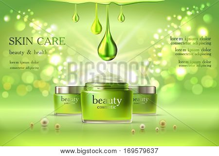 Beauty cosmetic product poster, green cream ads, makeup template, skin care cream or liquid package Sparkling shiny glitter background 3D Vector stock illustration .