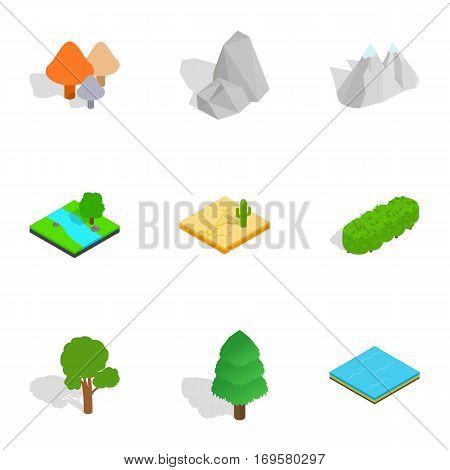 Summer landscape icons set. Isometric 3d illustration of 9 summer landscape vector icons for web