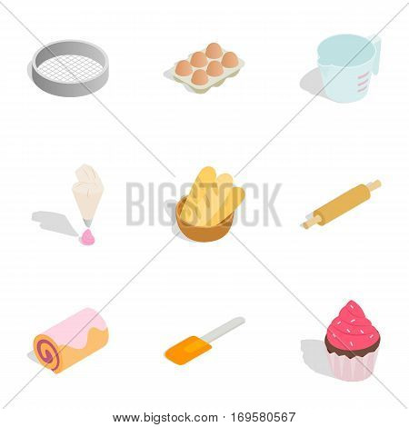 Cooking sweet desserts icons set. Isometric 3d illustration of 9 cooking sweet desserts vector icons for web
