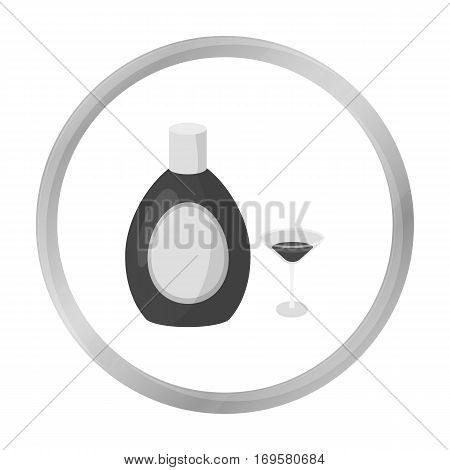 Chocolate liqueur icon in monochrome style isolated on white background. Alcohol symbol vector illustration.