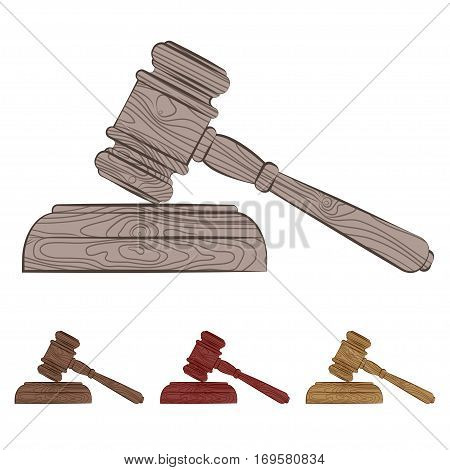 vector set of four court hammers in different colors. EPS