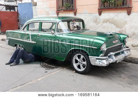 Vintage Car At The Neighborhood Of Habana Vieja