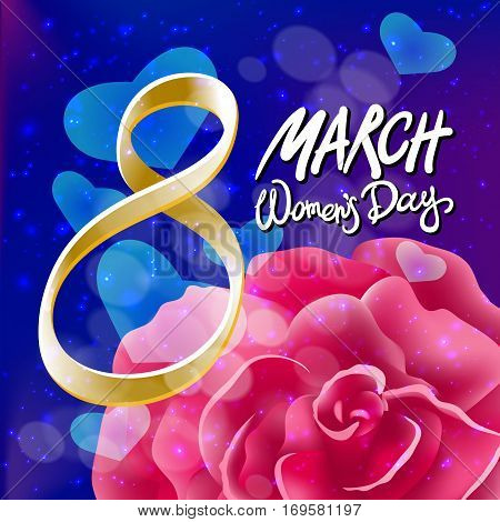 Vector 8 March Womens Day. Pink Red Rose Background