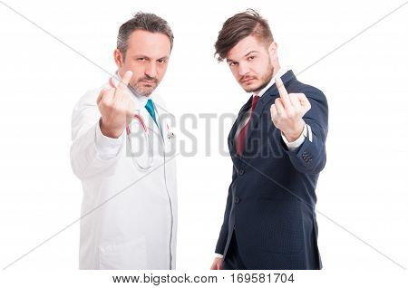 Doctor And Lawyer Doing Rude Gesture