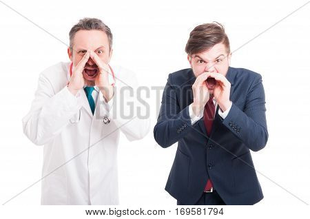 Angry Medic Or Doctor And Business Man