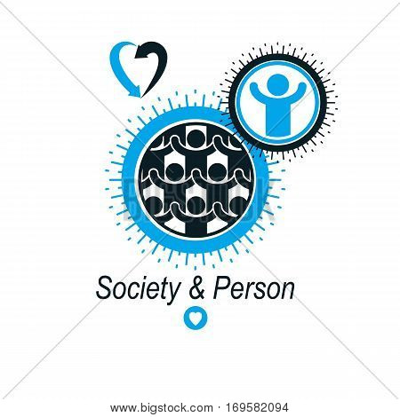 Mankind and Person conceptual logo unique vector symbol created with different icons. System and social Matrix sign. Person and world interacts with each other. System and social Matrix sign.