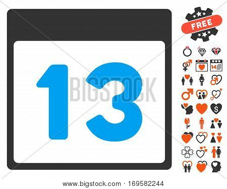 Thirteenth Calendar Page pictograph with bonus decorative clip art. Vector illustration style is flat iconic elements for web design app user interfaces.