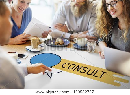 Consult Advice Assistance Suggestion Speech Bubble Concept
