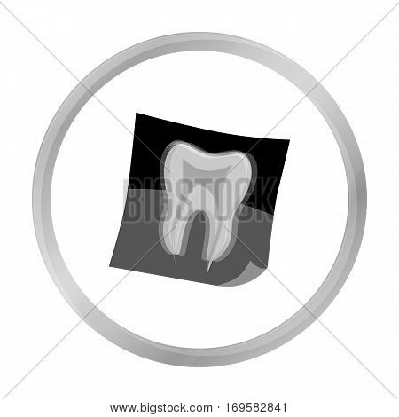 Dental x-ray icon in monochrome style isolated on white background. Dental care symbol vector illustration.