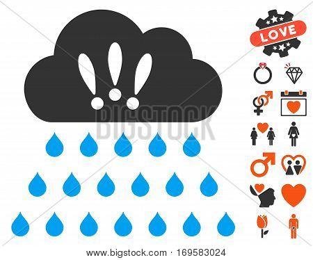 Thunderstorm Rain Cloud icon with bonus lovely pictograph collection. Vector illustration style is flat iconic elements for web design app user interfaces.