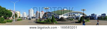 Komarovsky market panorama against the blue sky summer. Minsk Belarus 21/12 2010 editorial