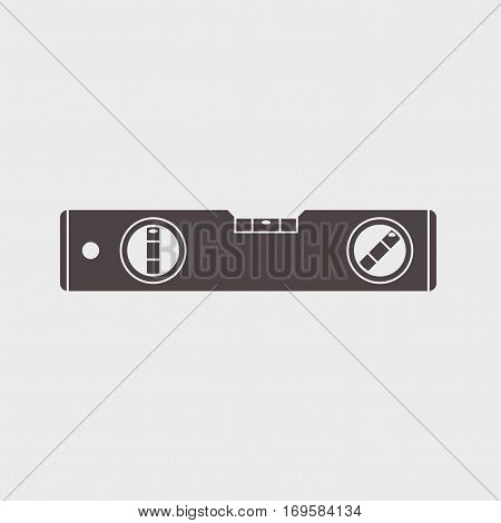 bubble level tool icon on a gray background Vector illustration.