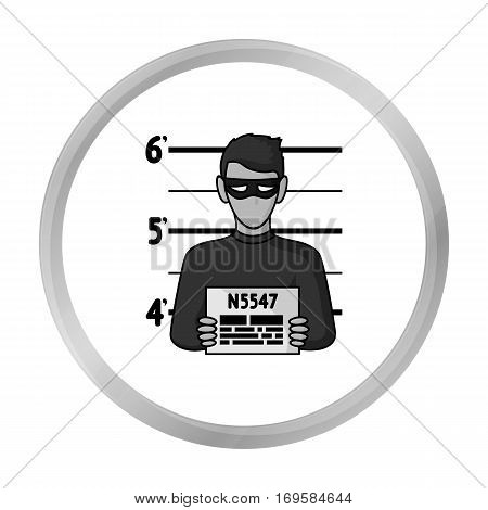 Prisoner's photography icon in monochrome style isolated on white background. Crime symbol vector illustration.