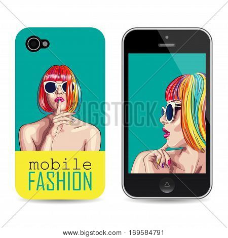 vector mobile phone cover template with woman wearing colorful wig