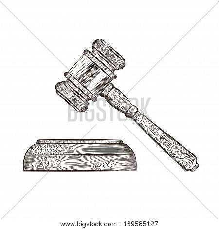 vector illustration of a wooden court hammer isolated on white. EPS