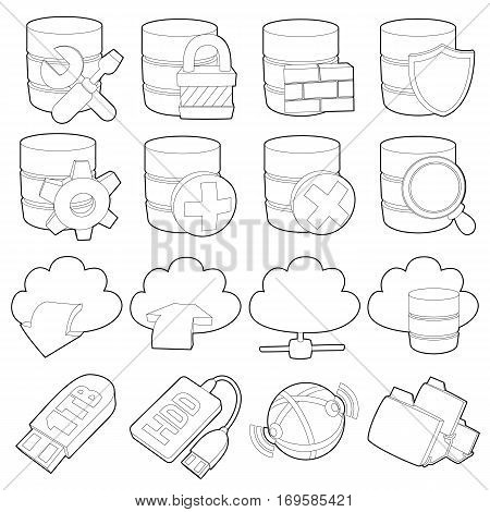 Database symbols icons set. Outline illustration of 16 database symbols vector icons for web