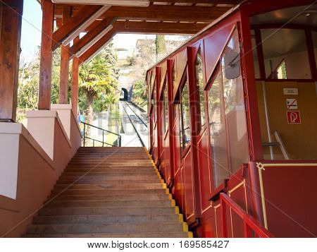 Lugano Switzerland - March 01 2015: Funicular for the climb to Monte bre. It is a funicular divided into two childbirth. In the image the cab of the second segment.