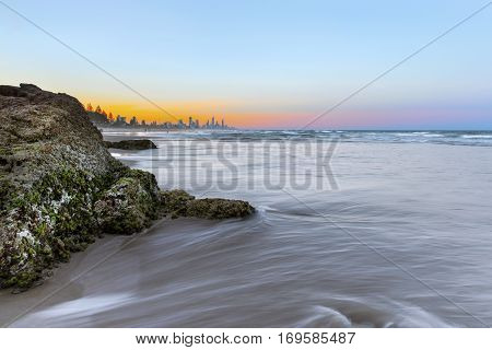 Sunset with ocean tide at Miami Headland Gold Coast